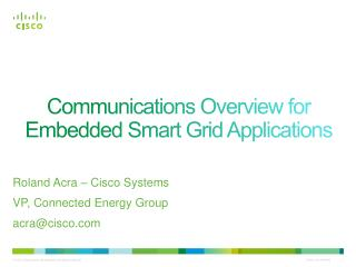 Communications Overview for Embedded Smart Grid Applications
