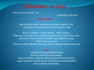 Education   in  Italy