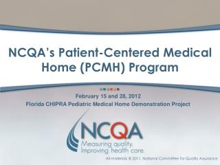 NCQA's Patient-Centered Medical Home (PCMH) Program