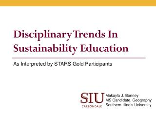 Disciplinary Trends In Sustainability Education
