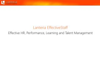 Effective  HR, Performance, Learning and Talent Management