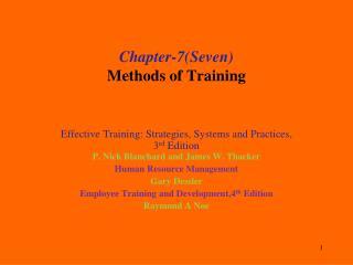 Chapter-7(Seven ) Methods of Training