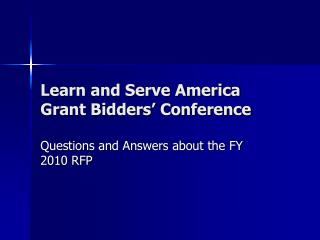 Learn and Serve America Grant Bidders� Conference