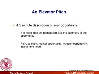 An Elevator  Pitch