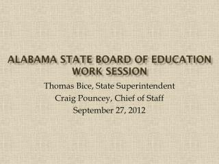 Alabama State Board of Education Work Session