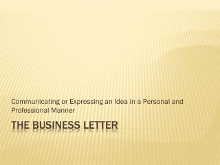 The Business Letter