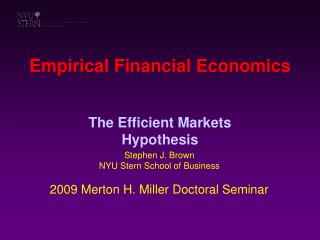 Empirical Financial Economics