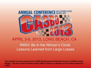 RM33: Be  in the Winner's Circle:  Lessons  Learned from Large Losses
