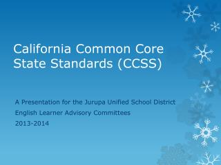 California Common Core State Standards (CCSS)
