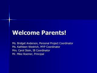 Welcome Parents!