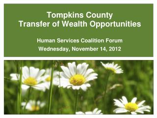 Tompkins County  Transfer of Wealth Opportunities Human Services Coalition Forum Wedn esday , November  14,  2012