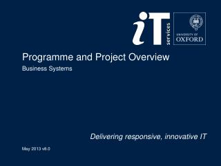 Programme and Project Overview  Business Systems