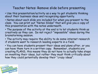 Teacher Notes: Remove slide before presenting