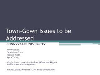 Town-Gown Issues to be Addressed