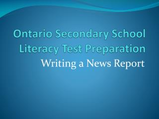 Ontario Secondary School Literacy Test Preparation