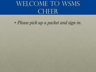 Welcome to WSMS Cheer