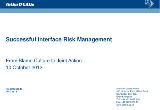 Successful  Interface  R isk  M anagement