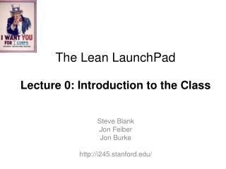 The Lean  LaunchPad Lecture 0:  Introduction to the Class