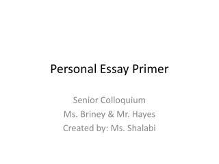 Personal Essay Primer