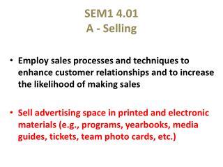 SEM1 4.01  A - Selling