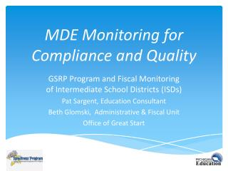 MDE Monitoring for Compliance and Quality