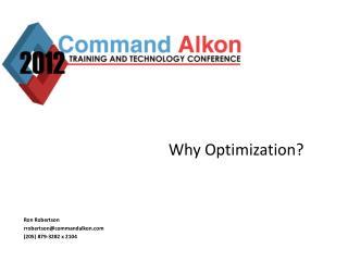 Why Optimization?