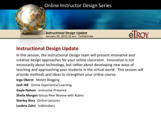 Online Instructor Design Series