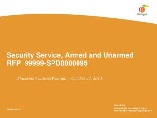 Security Service, Armed and Unarmed  RFP  99999-SPD0000095