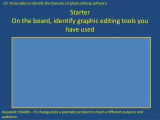 Starter On the board, identify graphic editing tools you have used