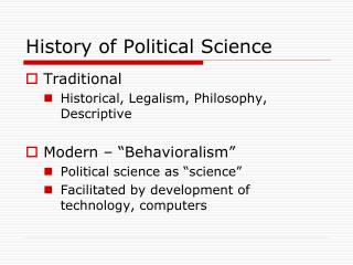 History of Political Science