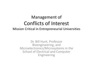Management of Conflicts of Interest Mission Critical in Entrepreneurial Universities