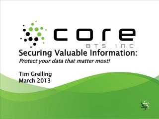 Securing Valuable Information: Protect your data that matter most! Tim Grelling March 2013