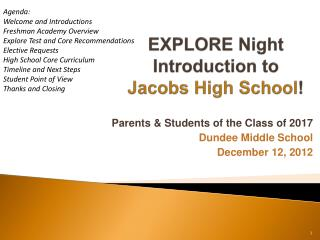 EXPLORE Night Introduction to  Jacobs High School !