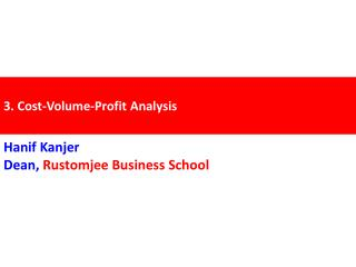 3. Cost-Volume-Profit Analysis