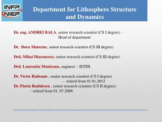 Department for Lithosphere Structure  and Dynamics