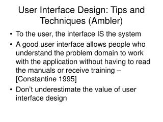 user interface design: tips and techniques ambler