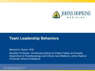Team Leadership Behaviors