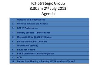 ICT Strategic Group  8.30am 2 nd  July 2013  Agenda