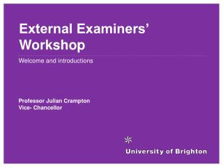 External Examiners' Workshop