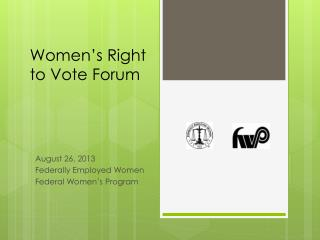 Women's Right to Vote Forum