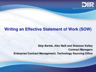 Writing an Effective Statement of Work (SOW)