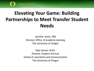 Elevating Your Game: Building Partnerships to Meet Transfer Student Needs