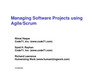 Managing Software Projects using Agile/Scrum