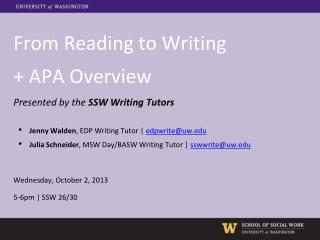 From Reading to Writing  + APA Overview Presented by the  SSW Writing Tutors Jenny Walden , EDP Writing Tutor |  edpwri