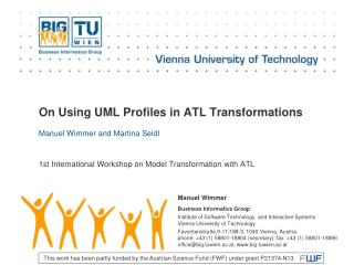 On  Using  UML  Profiles  in ATL  Transformations