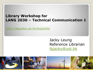 Library Workshop for  LANG 2030 – Technical Communication 1