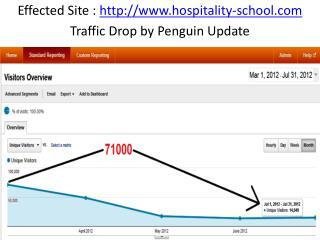 Effected Site :  http://www.hospitality-school.com Traffic Drop by Penguin Update