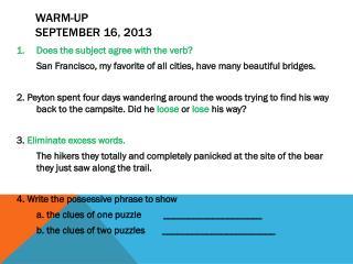 Warm-Up September 16, 2013
