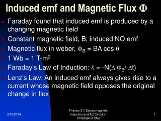 induced emf and magnetic flux f