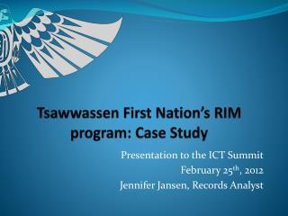 Tsawwassen First Nation's RIM program: Case Study